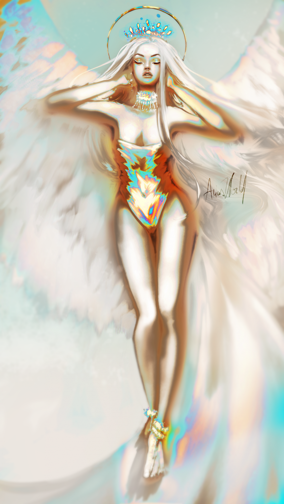 Golden Angel Premade Art
